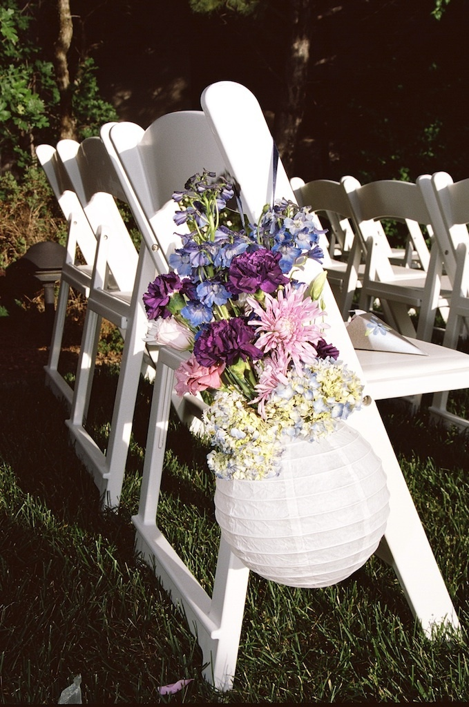 Flowers & Decor, pink, purple, blue, Aisle Decor, Outdoor, Flowers, Chair, Pew, Aisle, Ceromony, Moda floral event design