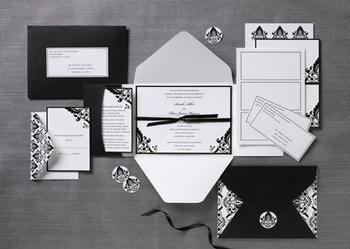 Stationery, white, black, Classic Wedding Invitations, Invitations, Wedding, And, Pocket, Damask