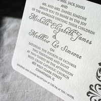 Stationery, invitation, Invitations, Letterpress, Damask, Paper stories letterpress