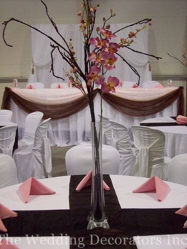 Reception, Flowers & Decor, Decor, pink, brown, Centerpieces, Centerpiece, The wedding decorators inc
