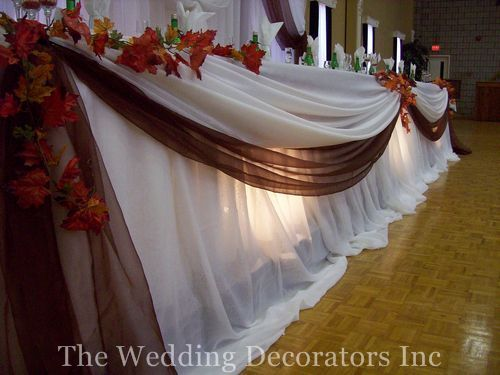 Flowers & Decor, Decor, white, brown, Fall, Rustic, Table, Head, Colour, The wedding decorators inc