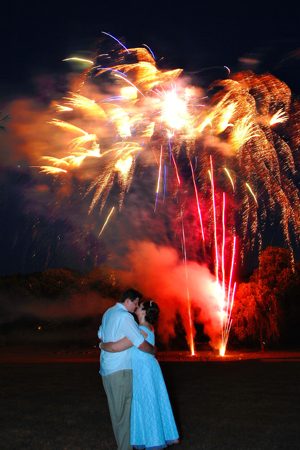 Reception, Flowers & Decor, Party, Kiss, Couple, Fireworks