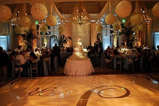 Reception, Flowers & Decor, Cakes, white, cake, Dance, Wedding, Floor, Monogrammed, An elegant occasion, People, Seated