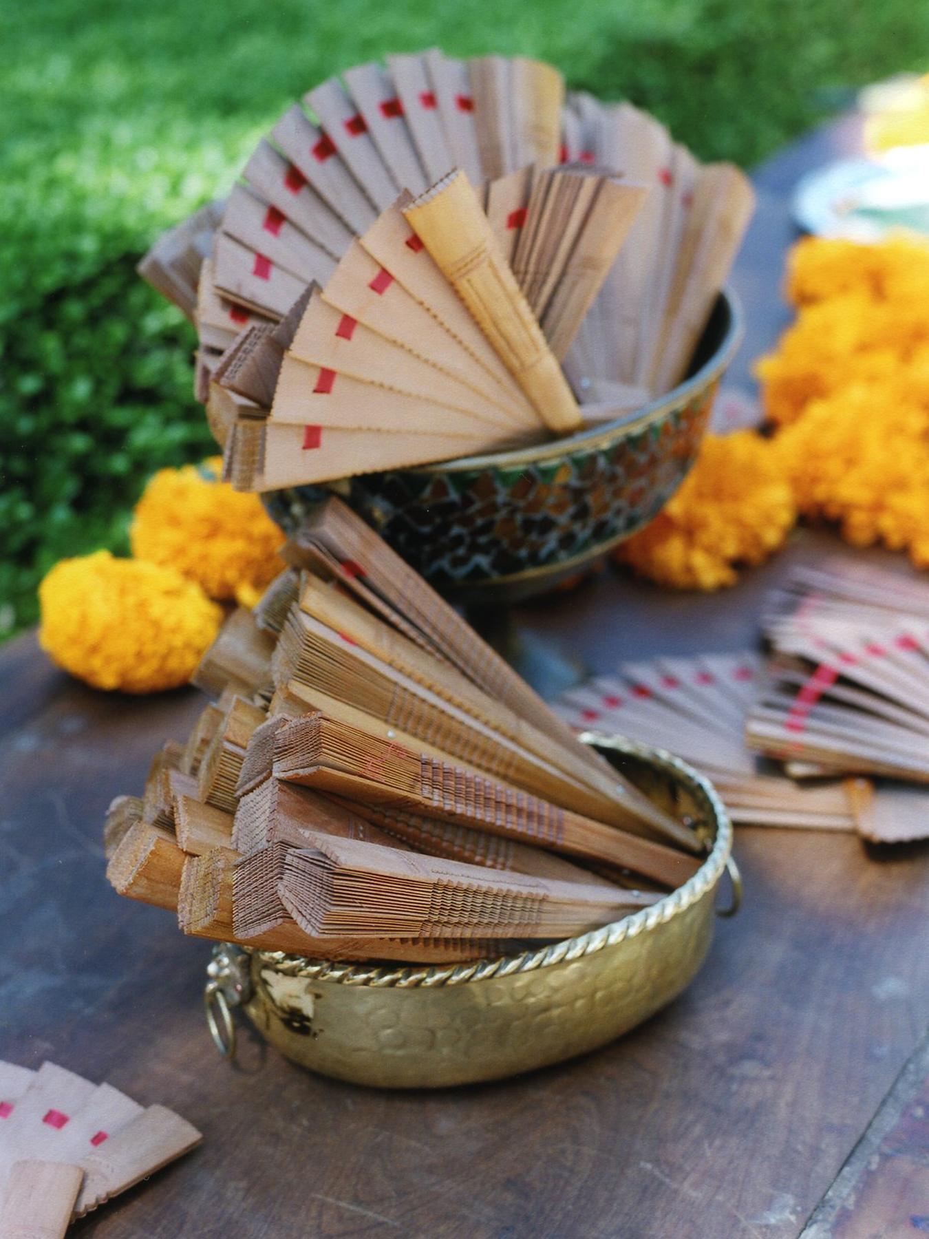 Ceremony, Flowers & Decor, Favors & Gifts, yellow, Favors, Ceremony Flowers, Flowers, Wedding, Fan, Indian, Mexican, Multicultural, Sandalwood