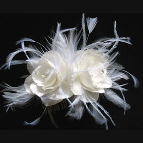 Beauty, Feathers, Comb, Roses, Wedding, Bridal, Couture, Silk, Millinery, Hairpiece, Handmade, Feather
