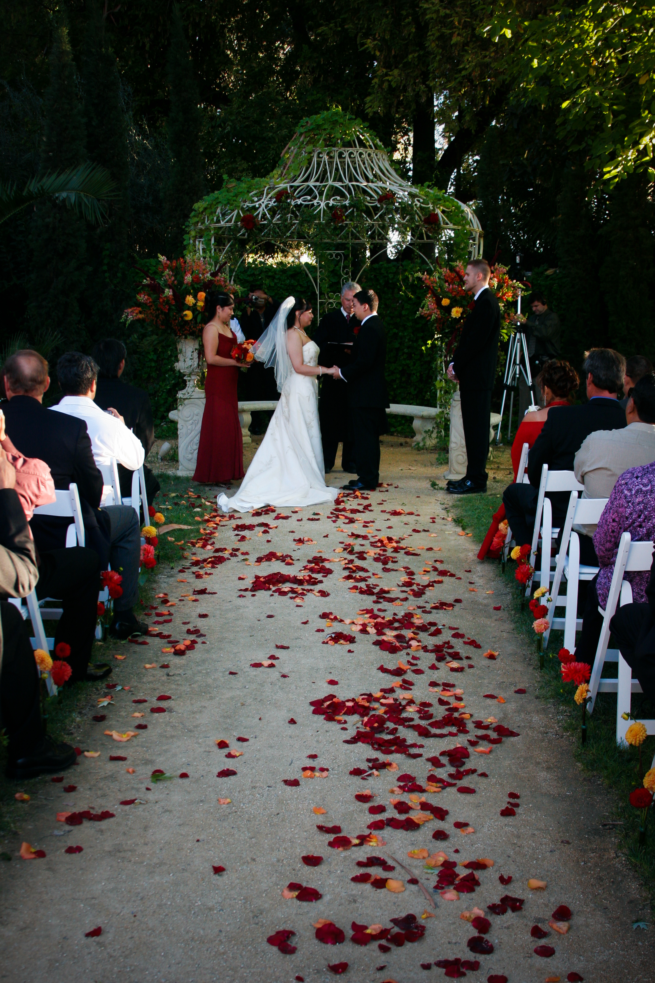 Flowers & Decor, orange, red, Ceremony Flowers, Aisle Decor, Fall, Dahlias, Rose petals, The blue orchid