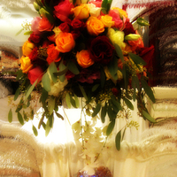 Flowers & Decor, yellow, orange, pink, red, Centerpieces, Flowers, Roses, Centerpiece, Dees petals