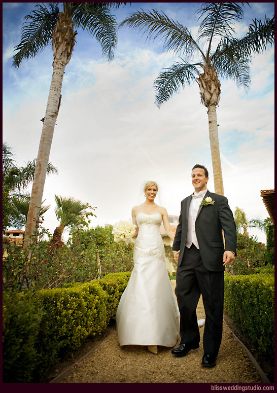Ceremony, Flowers & Decor, Bride, Outdoor, Groom, Portrait, Wedding, Couple, California, Palm springs, Bliss wedding studio, Mira monte resort, Palm trees