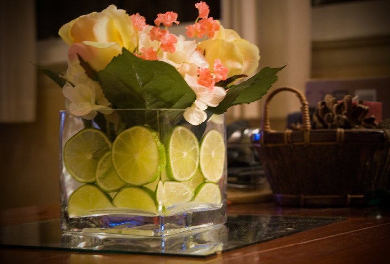 Reception, Flowers & Decor, yellow, Centerpieces, Square, Flowers, Centerpiece, Vase, Hydrangea, Coral, Salmon, Limes