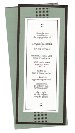 Stationery, green, brown, invitation, Modern, Modern Wedding Invitations, Invitations, Wedding, Chocolate, Tea, Engagement, Dinner, Rehearsal, Sage, 10, Paper mill designs