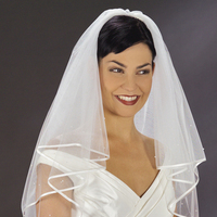 Veils, Fashion, white, ivory, Veil, Ribbon, Cream, 2, Tier, Edge, Glamourous gowns, Emmerling