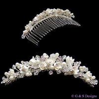 Jewelry, Tiaras, Updo, Tiara, Crystal, Swarovski, Pearl, Glamourous gowns, Combe