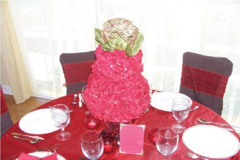 red, Centerpiece, Party, Bridal, Chocolate, Floral