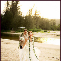 Flowers & Decor, Destinations, Hawaii, Beach, Outdoor, Flowers, Beach Wedding Flowers & Decor, Vine, Sand, Kauai, Wedding dress, Wedding gown, River, Creek, Lei, Bliss wedding studio, Stream