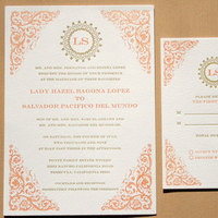 Stationery, orange, gold, invitation, Invitations, Papeterie