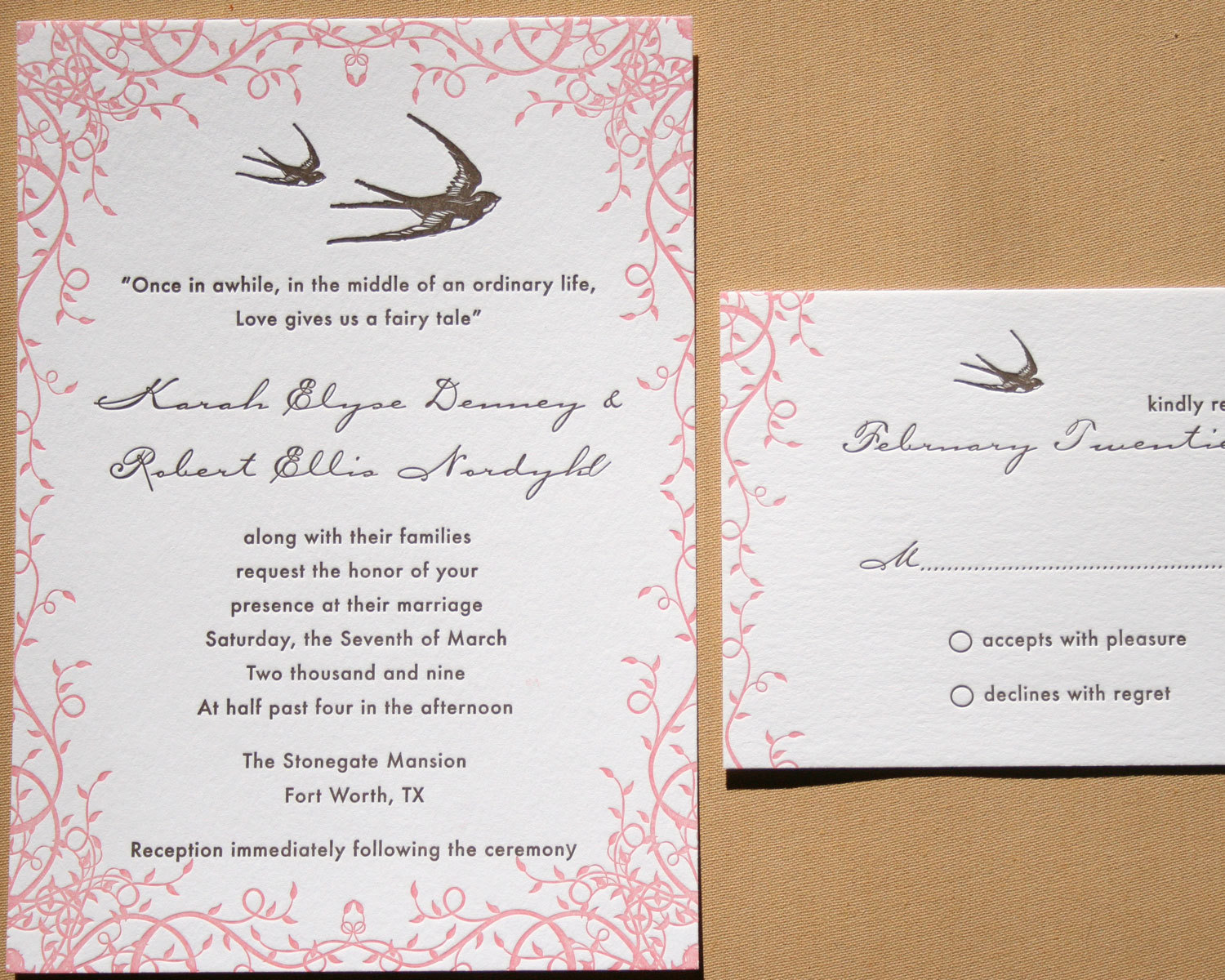 Stationery, pink, brown, invitation, Invitations, Papeterie