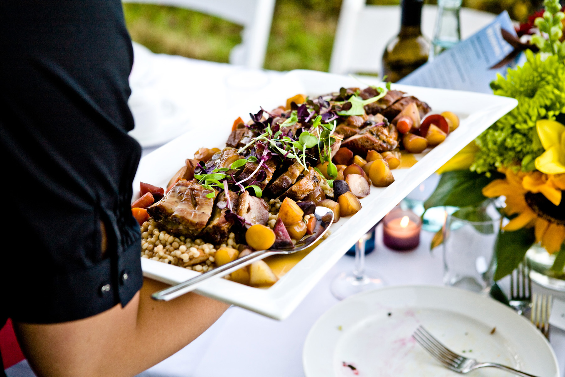 Outdoor, Wedding, Caterers, Vancouver, Savoury chef foods, Gastrique, Duck