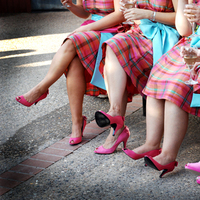 Bridesmaids, Bridesmaids Dresses, Shoes, Fashion, white, pink, Plaid, Dresses, Wine, Kim donald photography