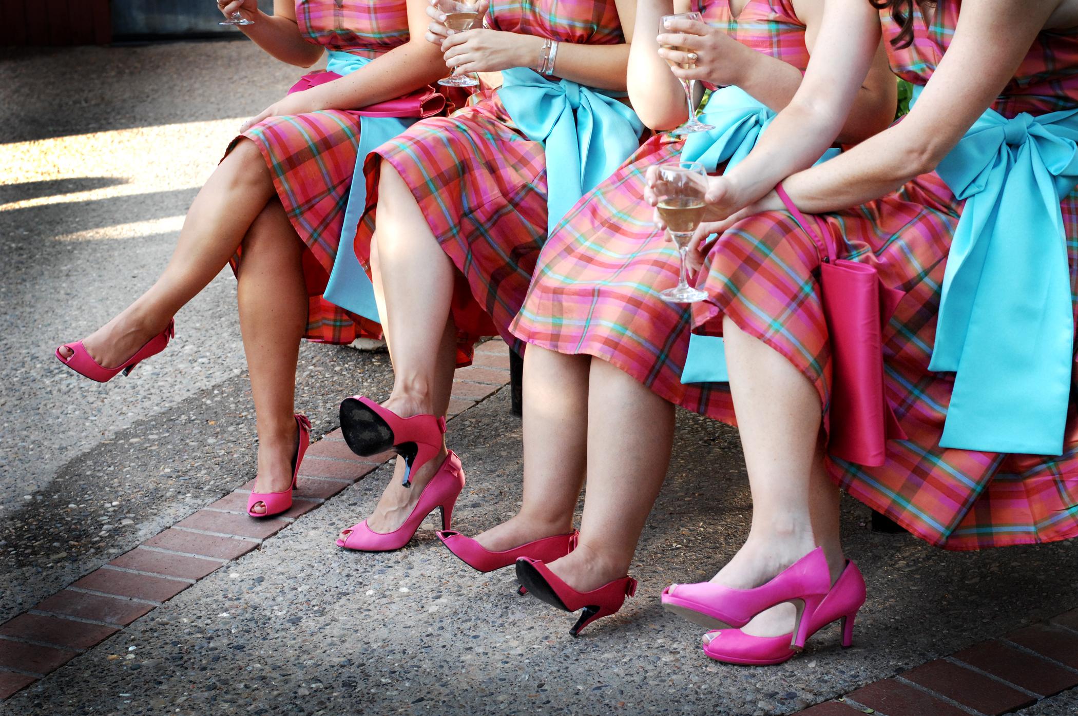 Bridesmaids, Bridesmaids Dresses, Shoes, Fashion, white, pink, Plaid, Dresses, Wine, Kim donald photography