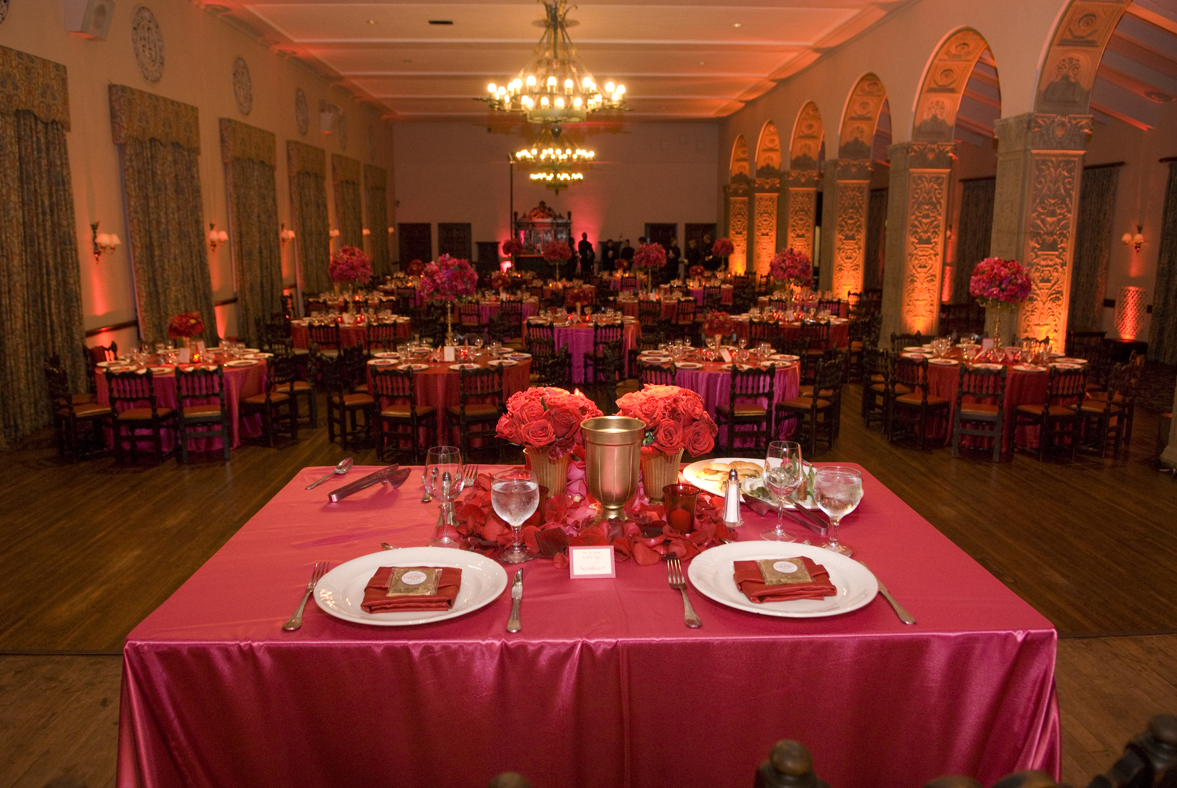 Reception, Flowers & Decor, red, gold, Centerpieces, Lighting, Flowers, Asian, Ebell