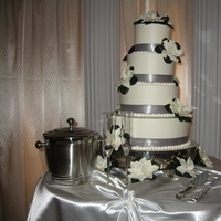 Flowers & Decor, Cakes, white, silver, cake, Flowers, Table, And, Three, Gardenias, Layer, Anyoccasion