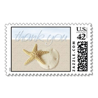 Stationery, Destinations, Beach, Invitations, Tropical, Destination, Starfish, Thank you, Sand, Dollar, Stamps, Envelopes, Postage, Wedding stamps, Wedding postage, Ever after postage