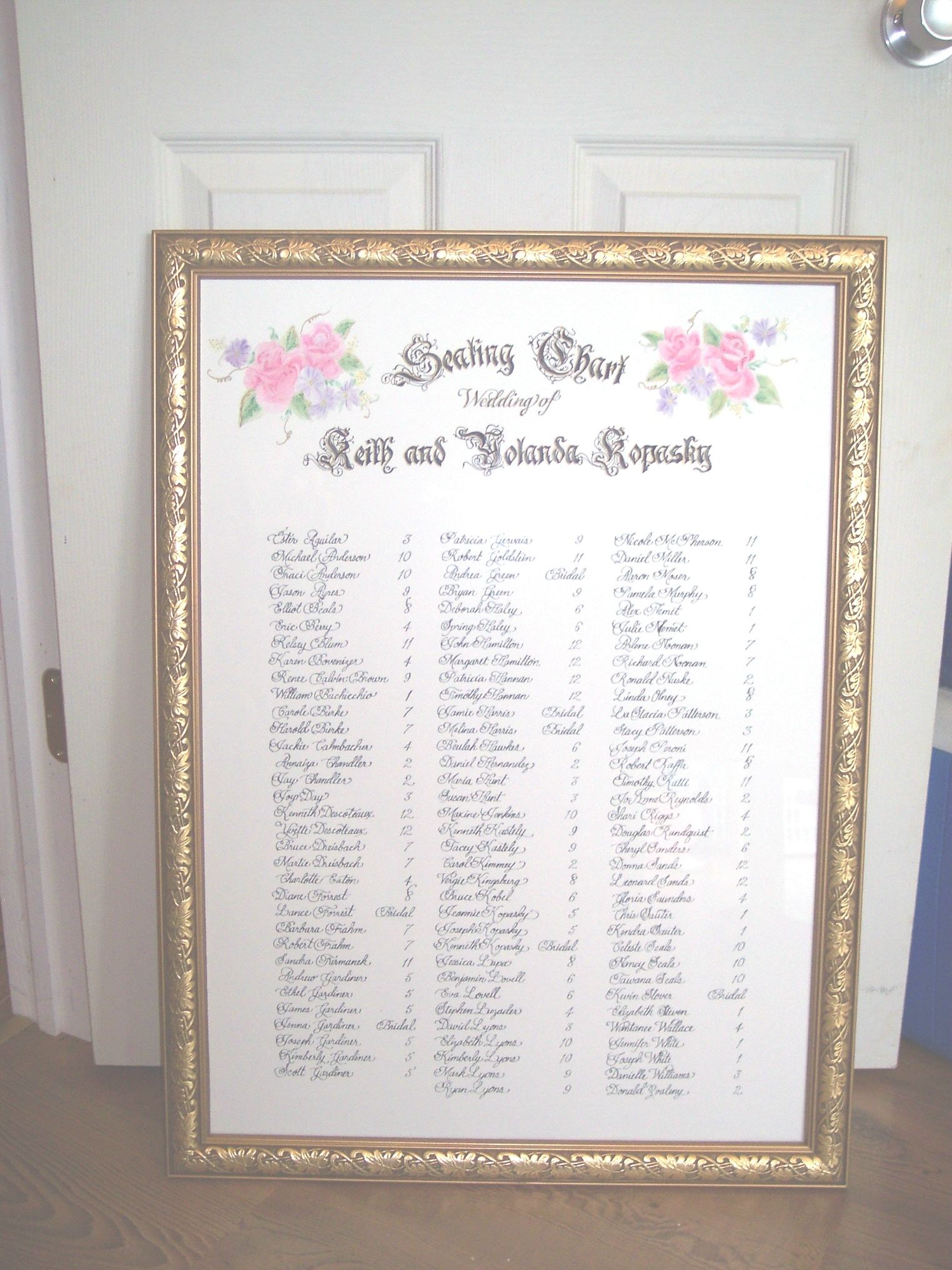 Cards, Place, Seating, Chart, Calligraphy by tammy