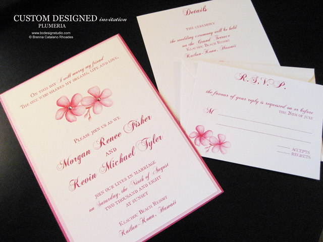 Stationery, Destinations, invitation, Invitations, Wedding, Tropical, Destination, Plumeria, Brenna catalano bc design studio