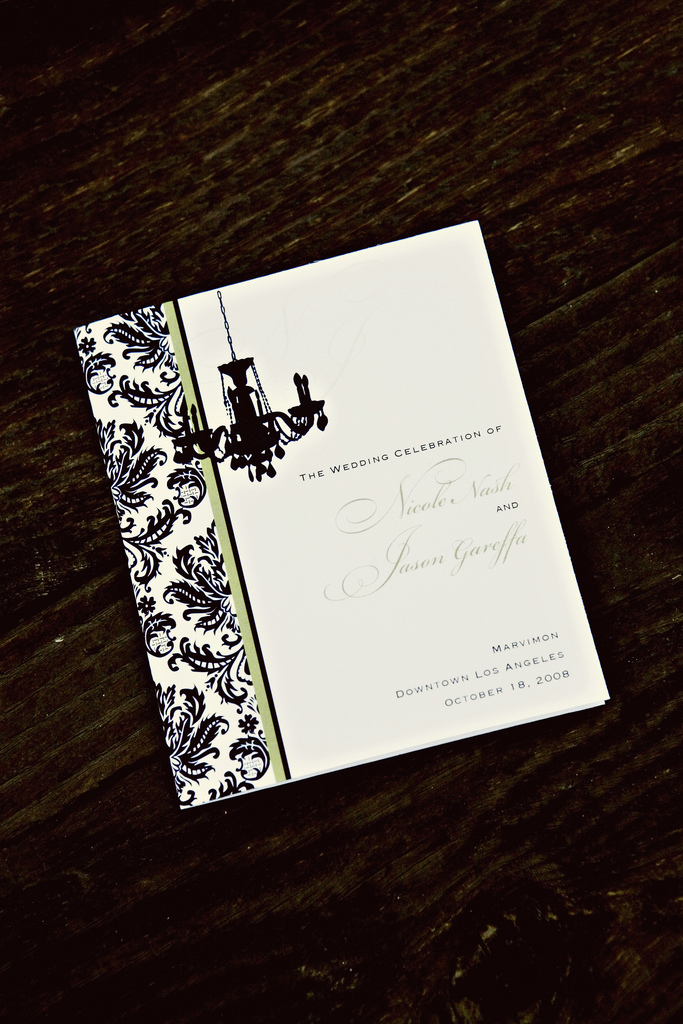 Stationery, white, black, Wedding, Program, And, Damask, Seinfeld