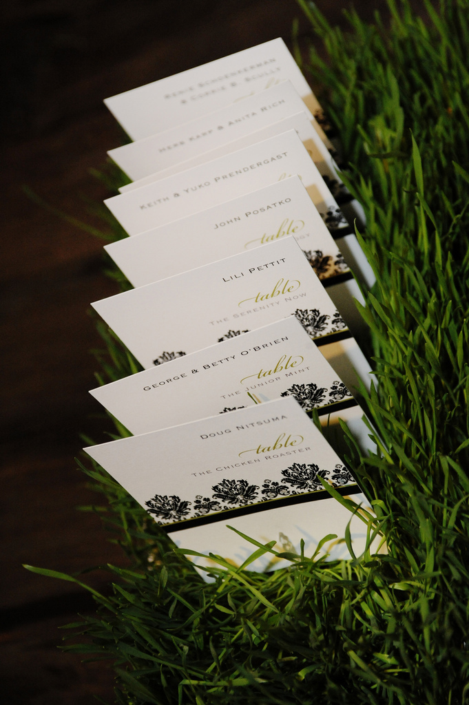 Flowers & Decor, Decor, Stationery, white, black, Place Cards, Wedding, And, Damask, Seinfeld