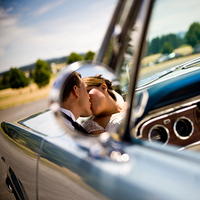Bride, Groom, Kissing, Jelani memory photography, Mustang
