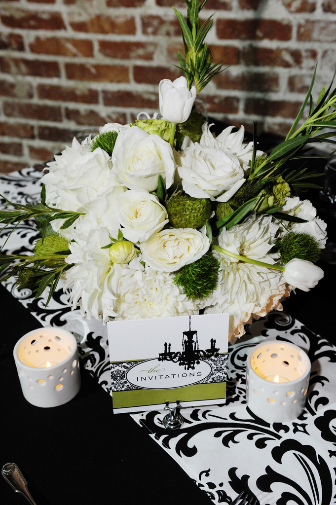 Flowers & Decor, Decor, Stationery, white, black, Flowers, Wedding, And, Damask, Invites, Seinfeld