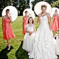 Bridesmaids, Bridesmaids Dresses, Fashion, Bride, Umbrella, Sunny, Jelani memory photography