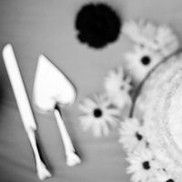 Cakes, white, black, cake, And, Knife, Cut, Jelani memory photography