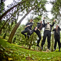 Groomsmen, Groom, Jump, Forest, Jelani memory photography