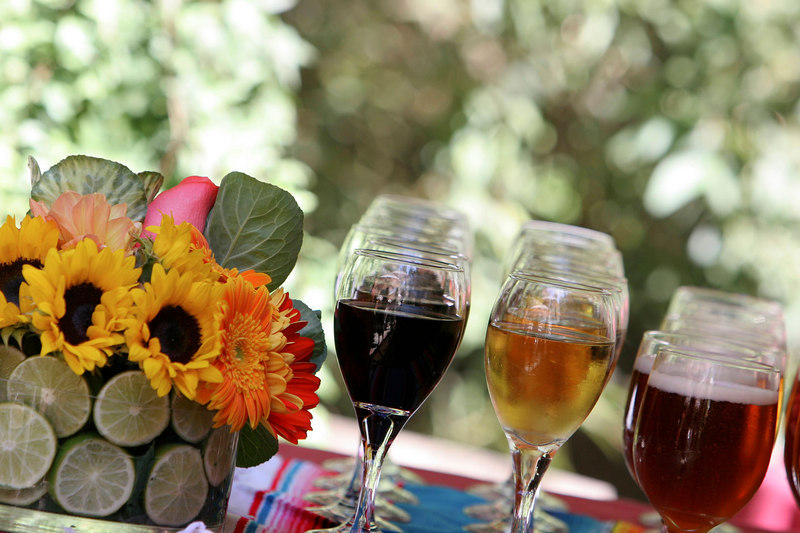 orange, pink, green, Lime, Centerpiece, Sunflowers, Bar, Wine, Fushia, Hot, Simply natural events