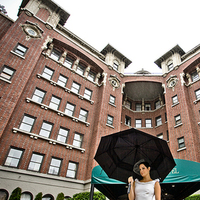 Bride, Hotel, Building, Seattle, Brick, Rain, Jelani memory photography