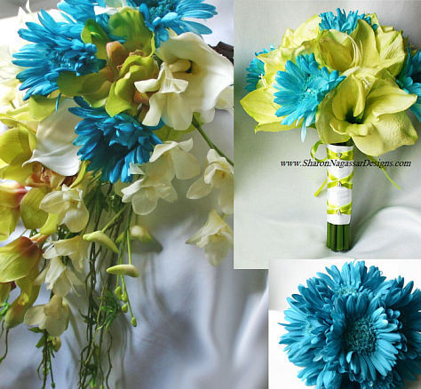 Flowers & Decor, Lime, Flower, Bridal, Aqua, Turquoise, Natural, Touch, Real, Package, Sharon nagassar designs