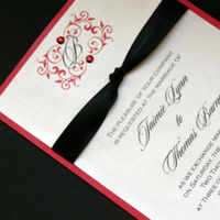 Stationery, red, black, Ribbon, Satin, With, Creative outlook designs, Shimmery