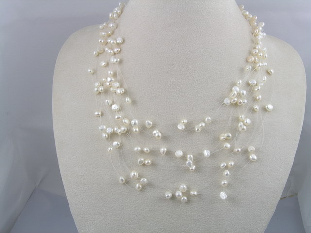 Jewelry, white, Necklaces, Pearl, Illusion, Lou lou belles, Multistrand