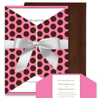 Stationery, pink, brown, invitation, Invitations, Custom, Chocolate, Invite, Dots, Polka