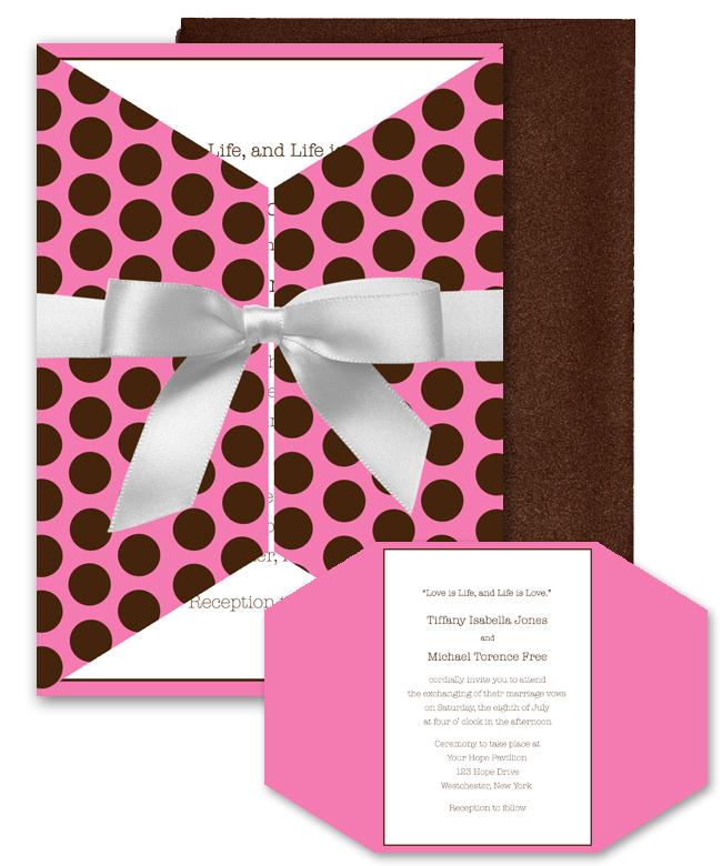 Stationery, pink, brown, invitation, Invitations, Custom, Chocolate, Invite, Dots, Polka