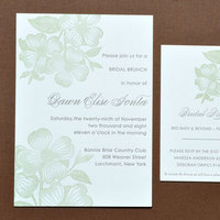 Stationery, green, brown, Invitations, Papeterie, Dogwood