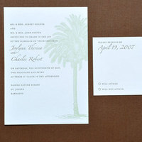 Stationery, green, Invitations, Palm, Pinecone, Papeterie
