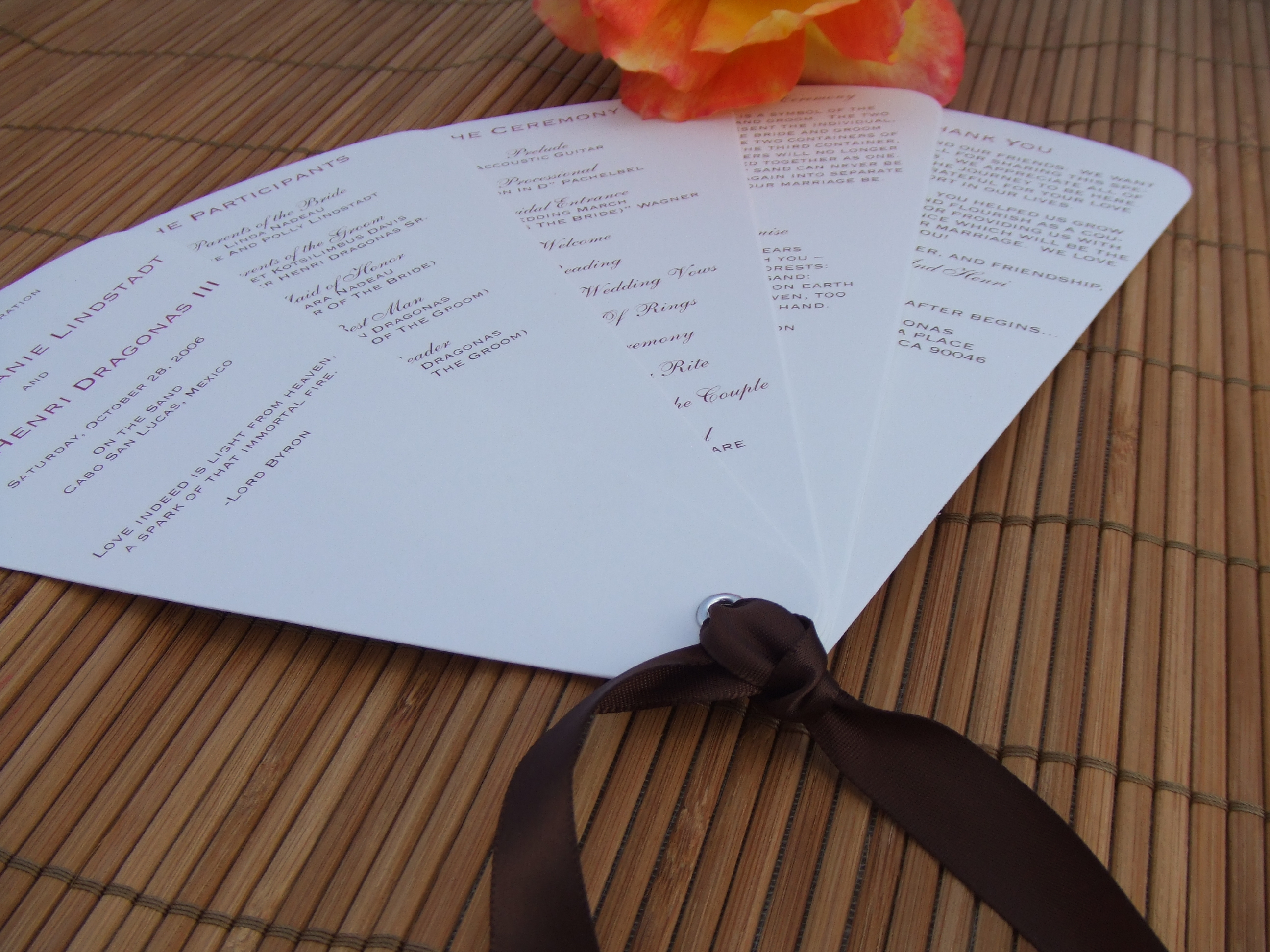 Stationery, Ceremony Programs, Programs, Wedding, Custom, Program, Bamboo, Fan, Custom programs