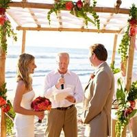 Ceremony, Flowers & Decor, orange, Beach, Beach Wedding Flowers & Decor, Gazebo