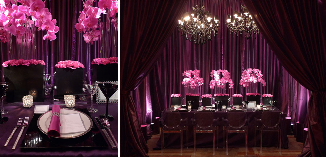 purple, black, And, Crystal, Drapery, Eggplant, Uplighting, Chandeliers, Enhanced lighting sound, Pinspotting, Four seasons