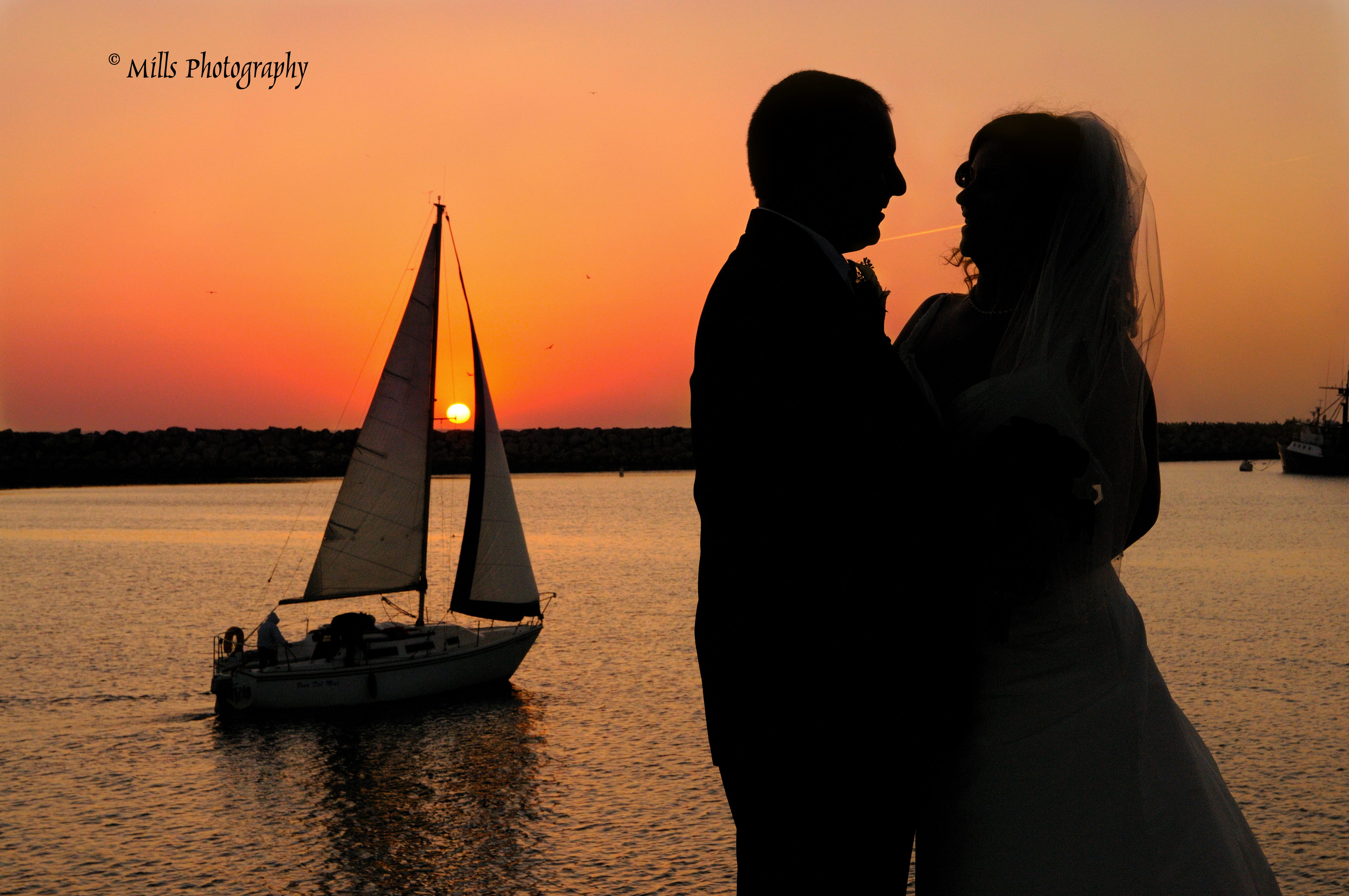 orange, red, Bride, Groom, Wedding, Ocean, Sunset, Beautiful, Silhouette, Sailboat