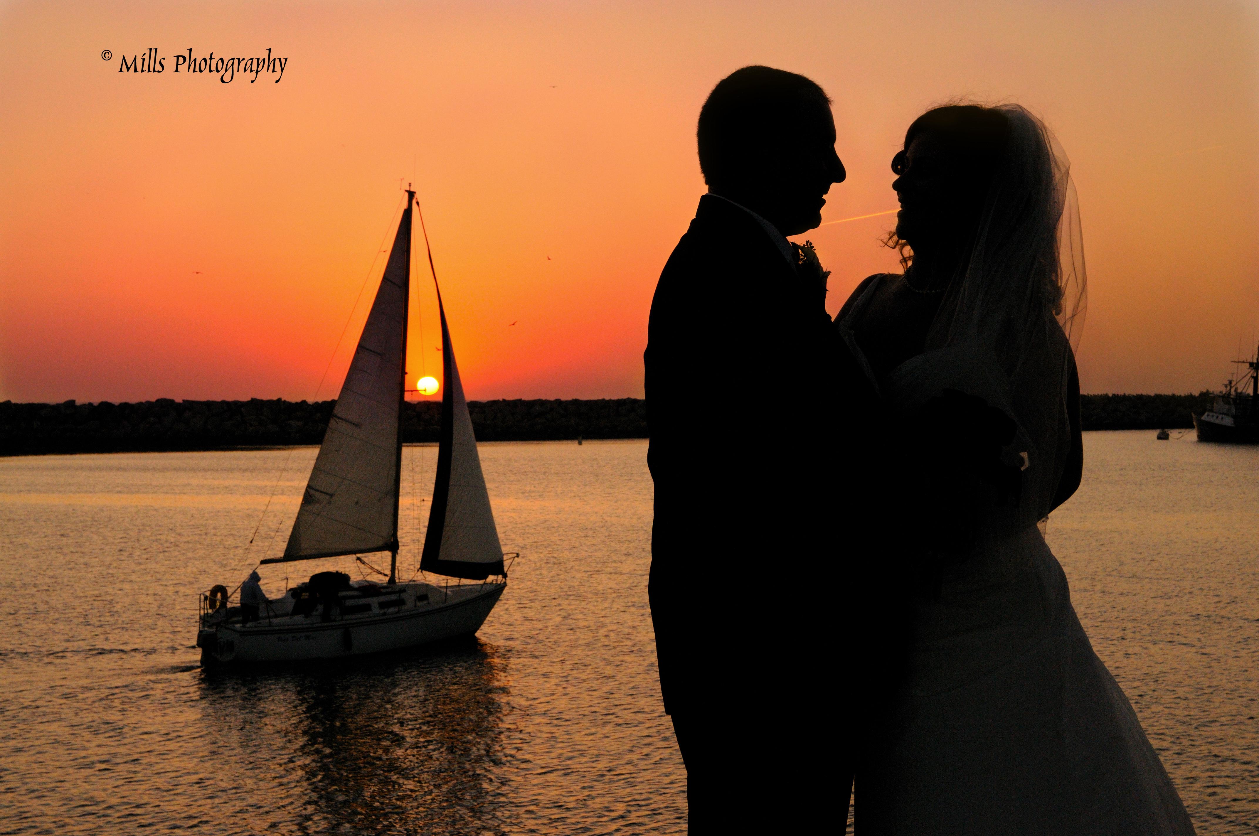 orange, red, Bride, Groom, Wedding, Ocean, Sunset, Beautiful, Silhouette, Sailboat