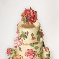 Flowers & Decor, Cakes, pink, gold, cake, Flowers, Roses, Wedding, Fondant, Antique, Let them eat cakes